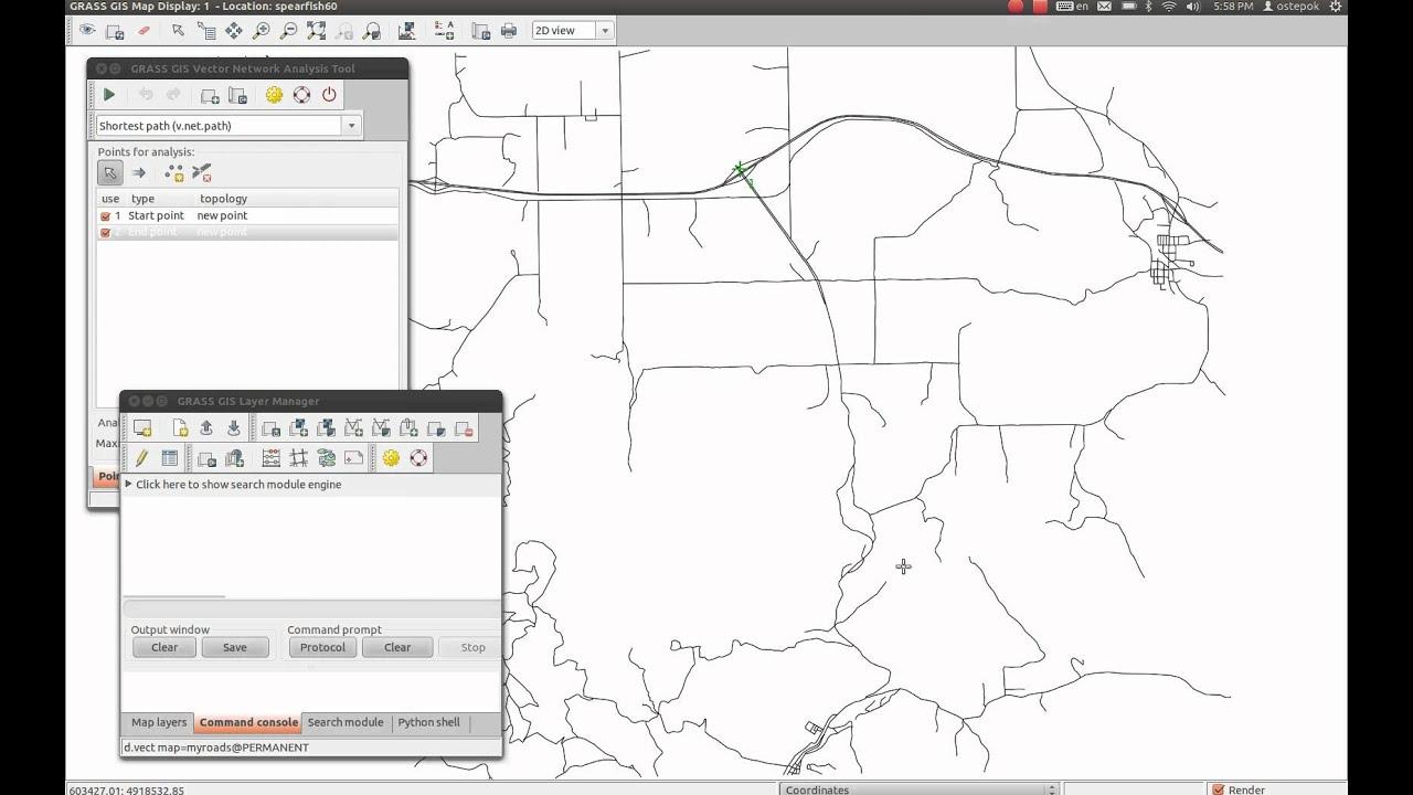 GRASS GIS Vector Network Analysis Tool Video Tutorial