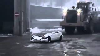 Huge Dump Truck Runs Over A Benz  ( Monster Truck Madness )