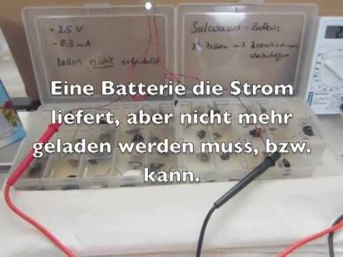 Strom erzeugende Salzwasser Batterie/ Power generating saltwater battery
