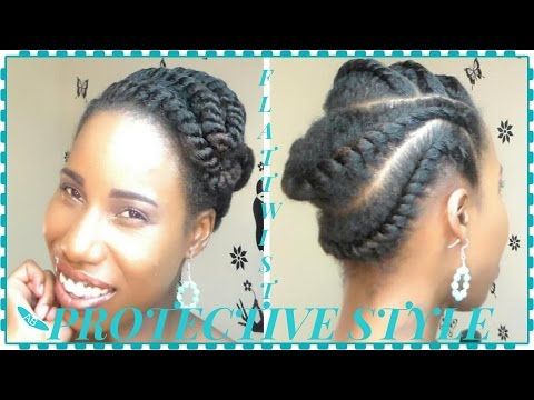 protective styles for medium relaxed hair flat twist protective style medium hair 3046 | hqdefault
