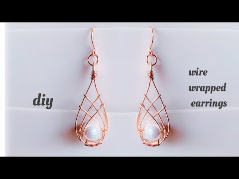 diy earrings/making beautiful wire wrapping earrings/wire wrapped pearl earrings