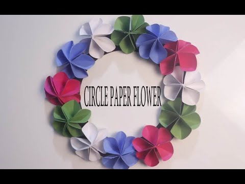 How to make  easy paper circle flowers /DIY Wall decoration