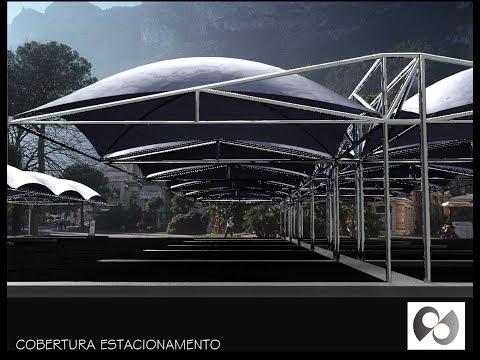 Cobertura / Sombreador / Toldo de Estacionamento (Car Parking Awning / Shade) - AutoCAD 3D