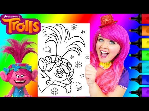 coloring-trolls-poppy-rainbow-coloring-page-prismacolor-paint-markers-|-kimmi-the-clown