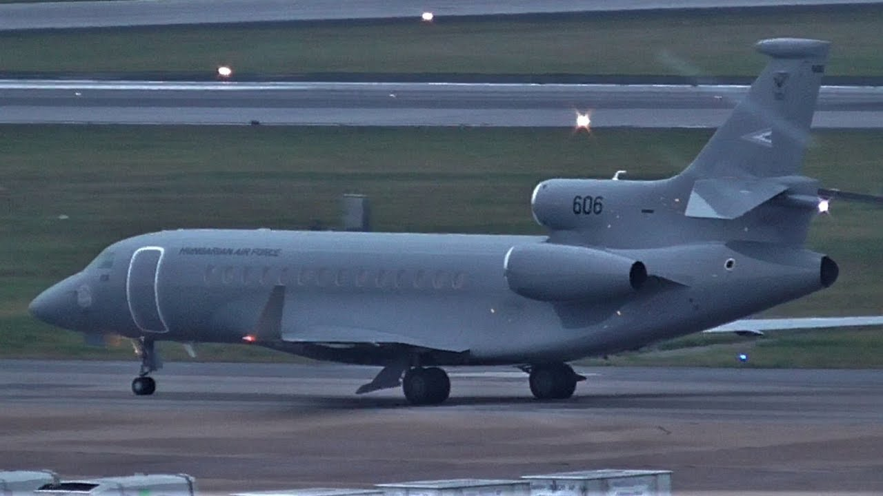 FIRST ON YOUTUBE! Hungarian Air Force Dassault Falcon 7x take off at  Hamburg Airport