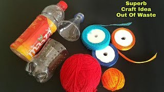 Superb Craft Of Out Waste Plastic Bottle and Ribbon | New Idea Of Reusing Waste