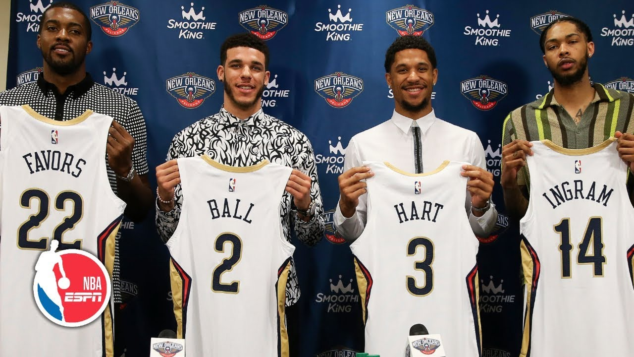 online store 3d807 e78e1 Lonzo Ball, Brandon Ingram, Josh Hart and Derrick Favors introduced by the  Pelicans   NBA on ESPN