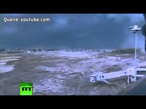 Tsunami wave floods