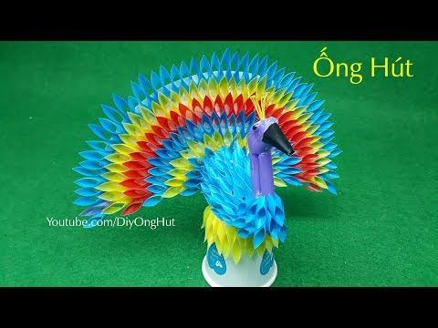 Hướng dẫn làm chim Công bằng �ng Hút - Chim Công Handmade