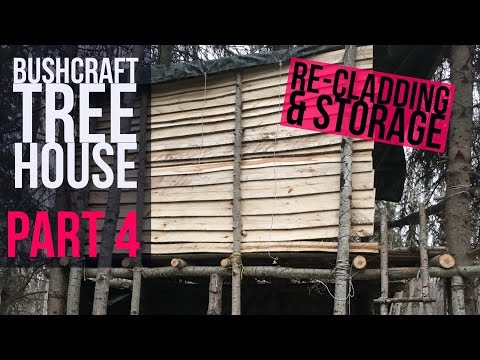 Bushcraft Tree House Part 4 - Bushcraft Shelter - Wood Seasoning Rack - Winter Camping