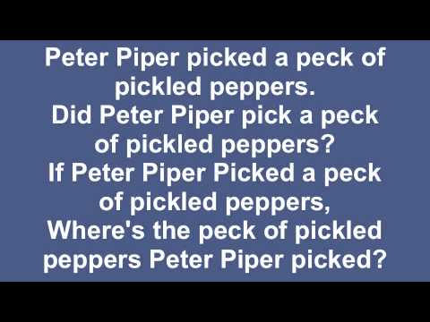 tongue twister and peppers peter piper The words such as peter piper picked a peck of pickled pepperstongue twisters  the peck of pickled peppers peter piper picked  tongue-twister.