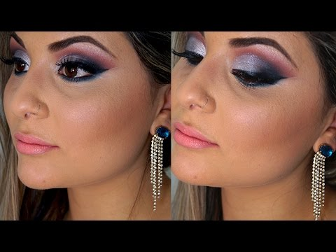 Vestido azul royal que maquiagem usar