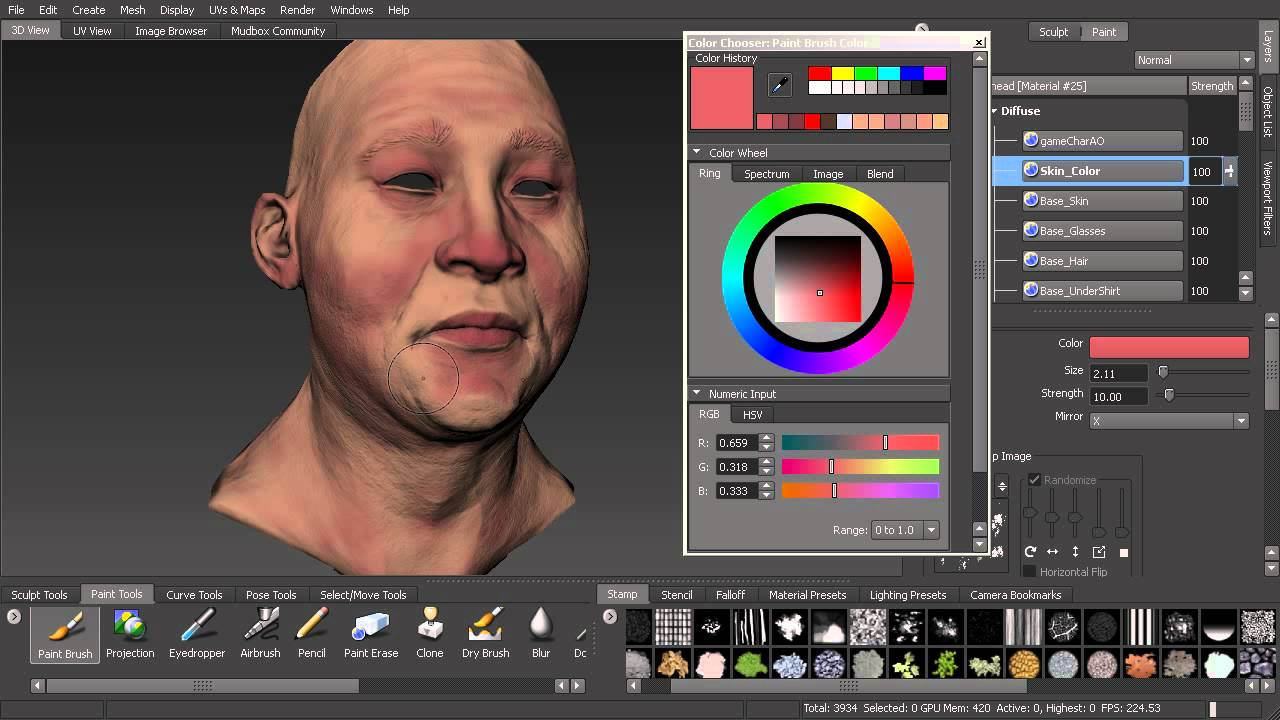 Mudbox Top Tip Quickly Paint the Base Skin Textures for Your Game