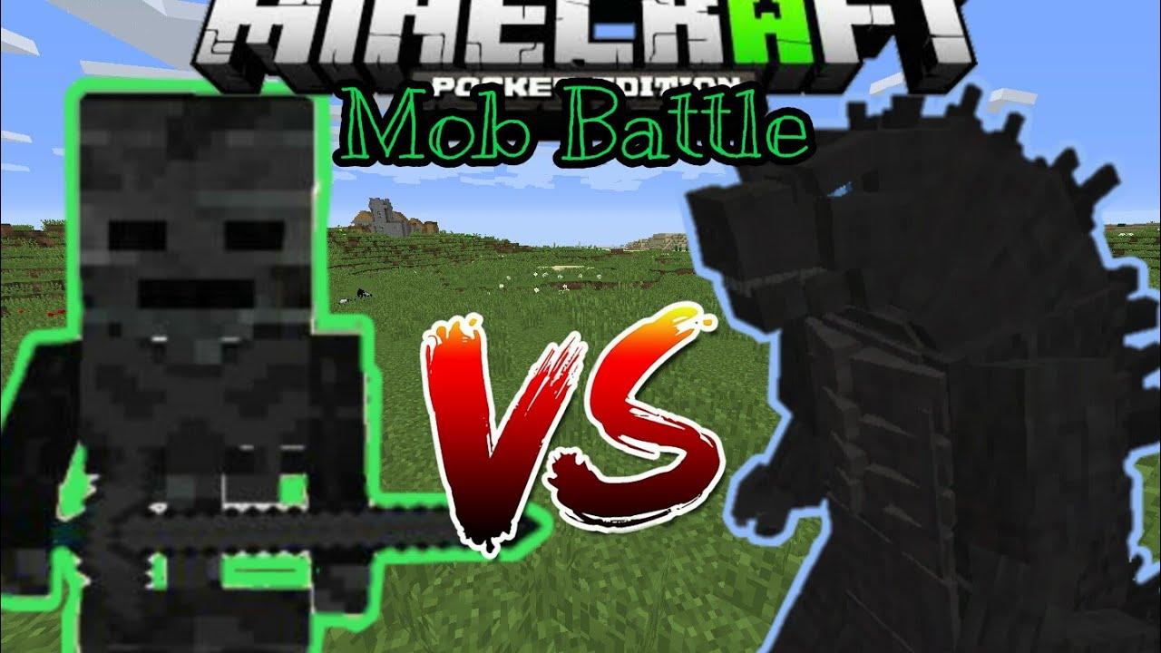 Minecraft PE Wither Skeleton Titan vs Godzilla - Mob Battle Episolde 1