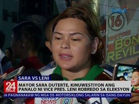 Mayor Sara Duterte, kinuwestiyon ang panalo ni Vice Pres. Leni Robredo