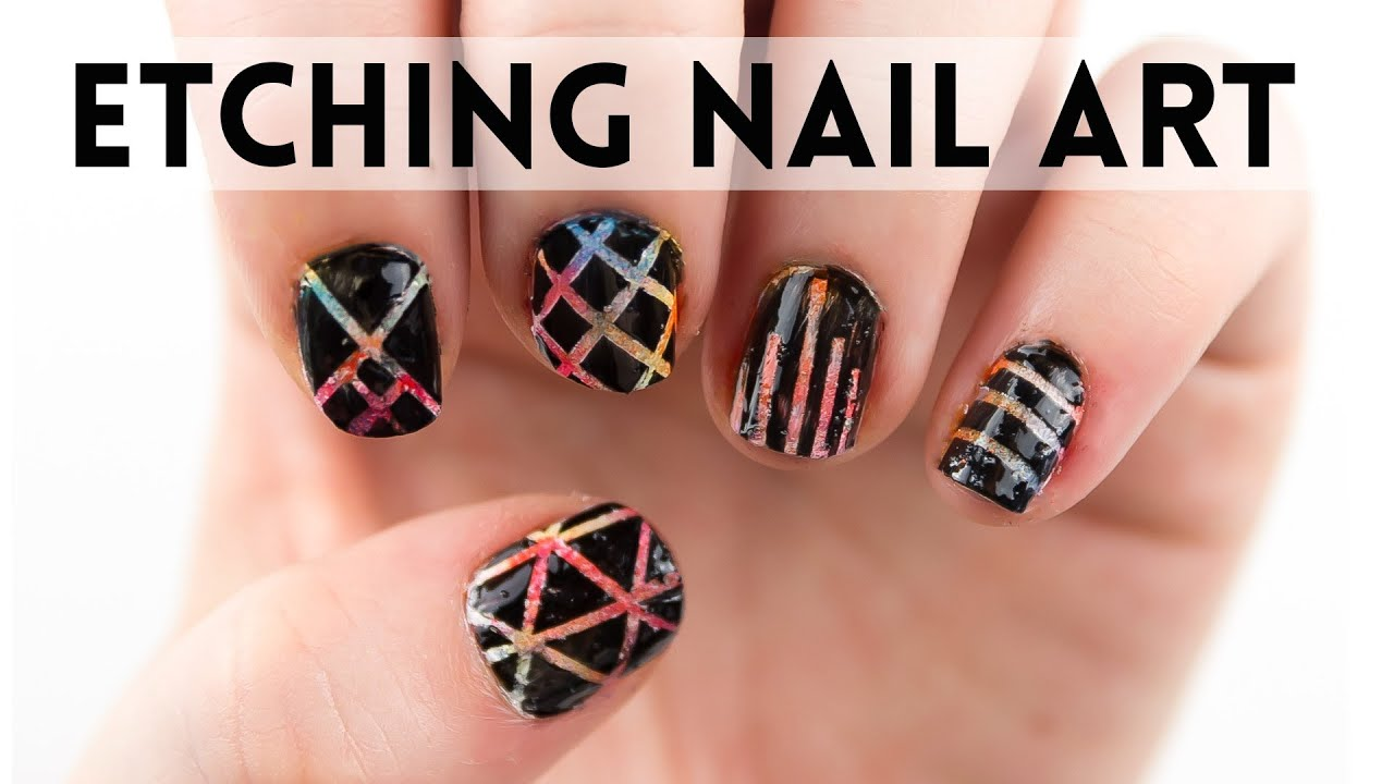 Simple Nail Art Designs -- Black and Neon Etching - YouTube