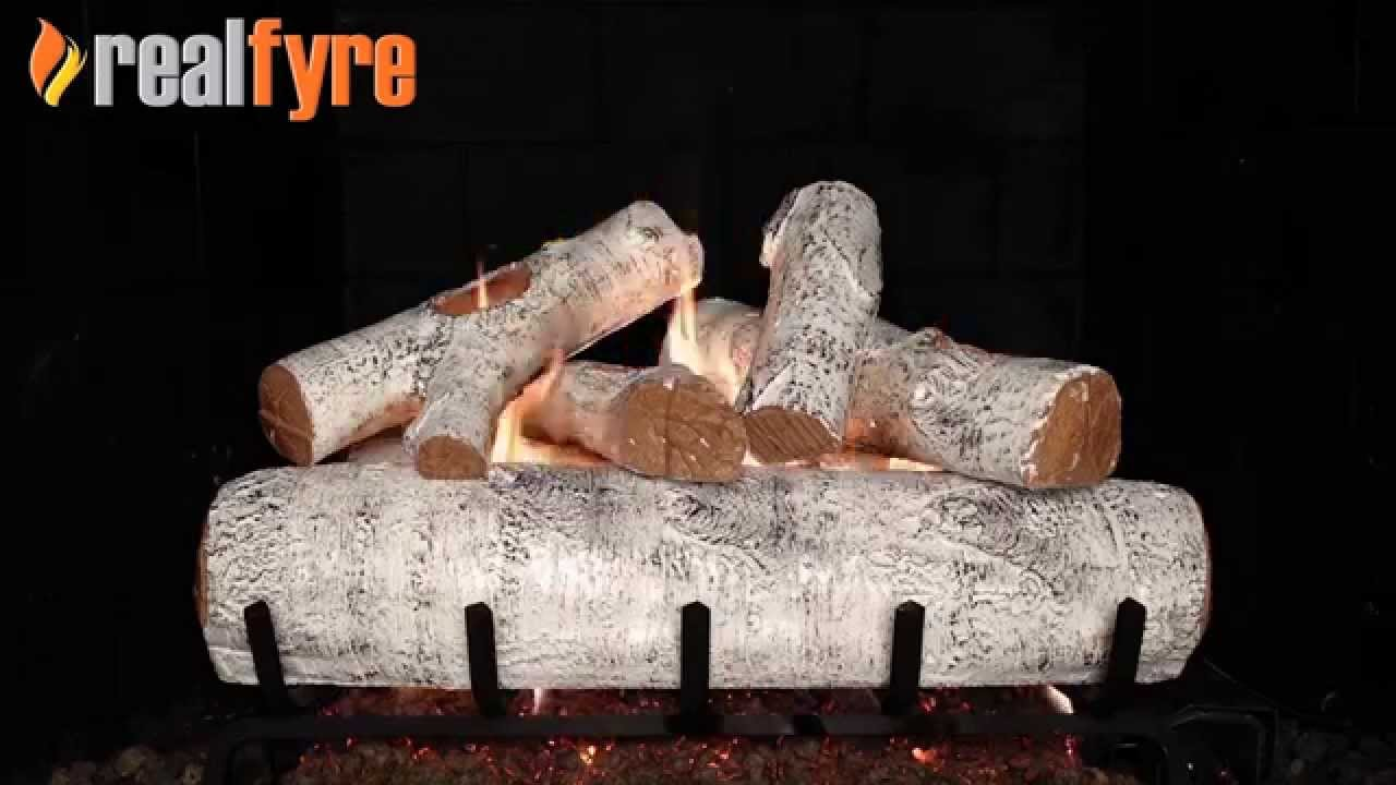 peterson real fyre white birch log set shown with the g45 burner