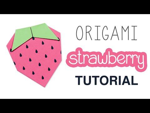 Origami Strawberry Tutorial + Free Printable ♥︎ DIY ♥︎