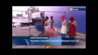 Pussy Riot в Сочи избили казаки!!!
