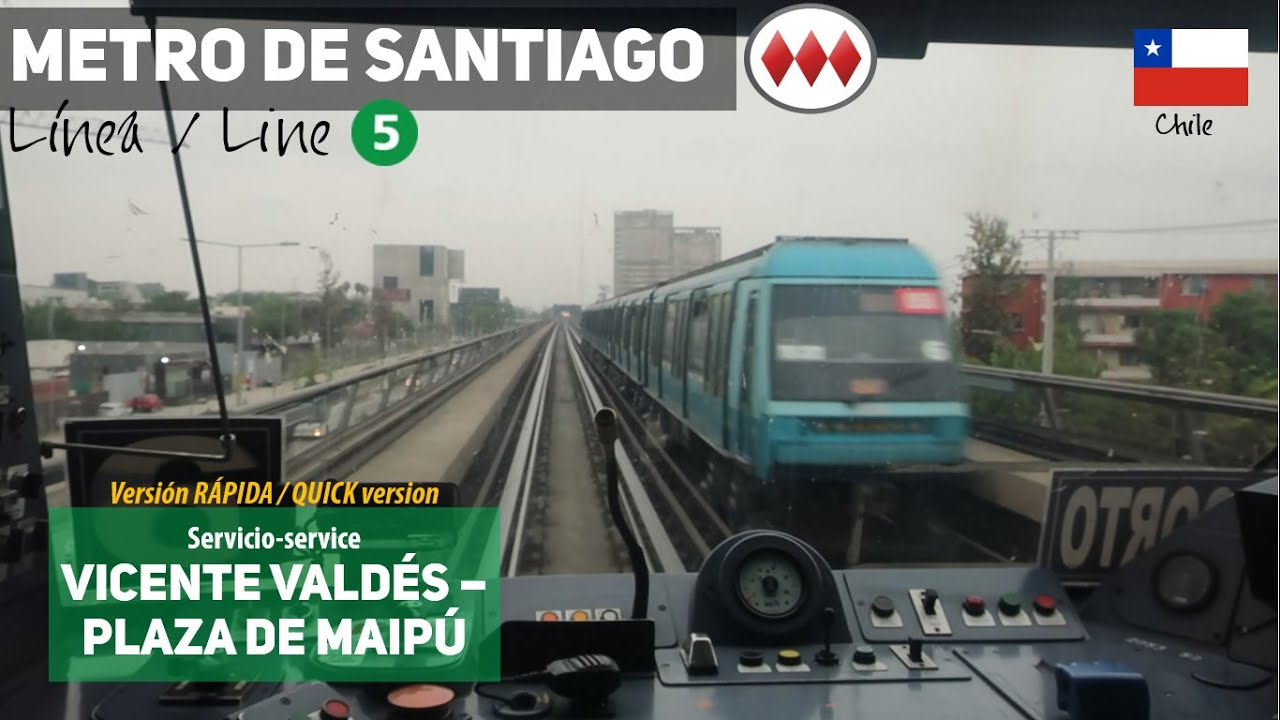 Linea 5 Metro De Santiago Completa En 12 Minutos Alstom Ns93 Reverse Cab Ride Youtube