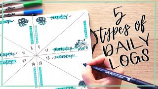 5 Types of Daily Logs || Bullet Journal Ideas