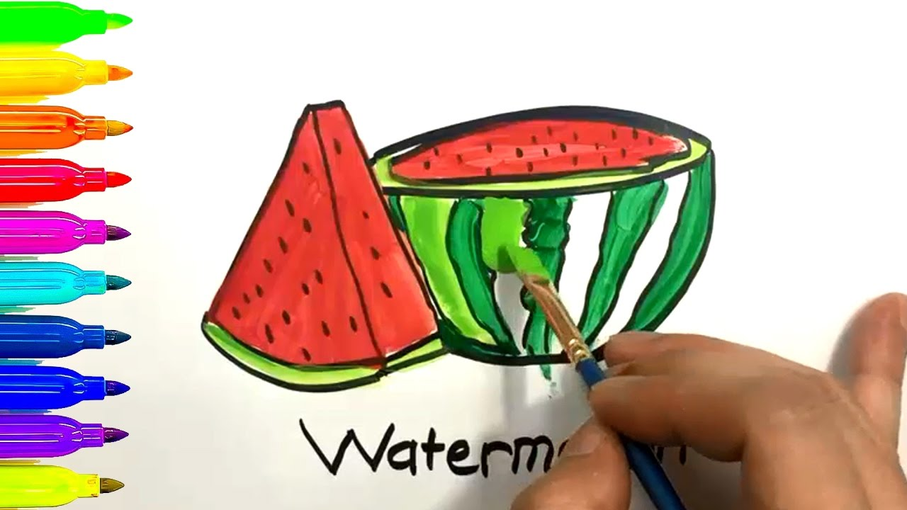 how to draw and color watermelon coloring pages for kids learn