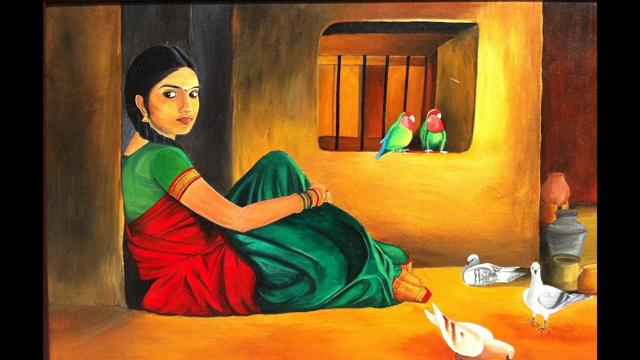 Beautiful Indian Women In Paintings Pictures Illustrations Portraits