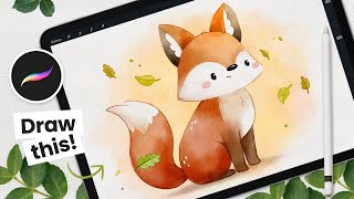 How To Draw A Wateŗcolor Fox + Brush Giveaway! • Procreate Tutorial