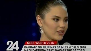 Pambato ng Pilipinas sa Miss World 2016 na si Catriona Gray, nakapasok sa top 5