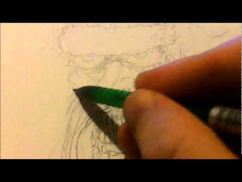 Zombie Face Line Drawing : How to draw zombie santa claus face youtube