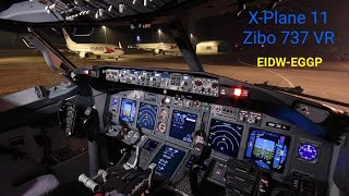 X Plane 11 Zibo Mod 737 VR Full Evening Flight Dublin - Liverpool