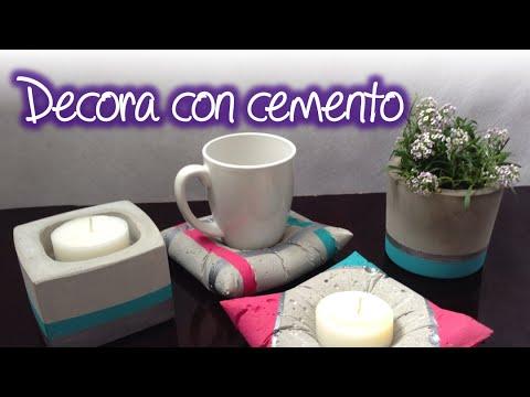 Macetas y base porta velas y porta tazas de cemento youtube - Base de vela ...