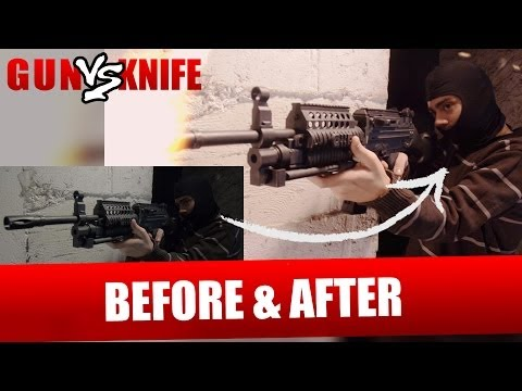 Don't bring a Knife to a Gunfight Before and After VFX Comparison