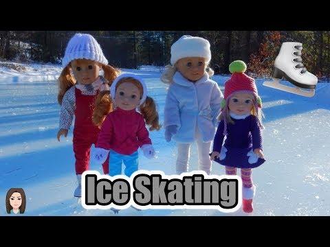 American Girls Caroline, Camille, MaryEllen, and Willa Ice Skate!   Kelli Maple