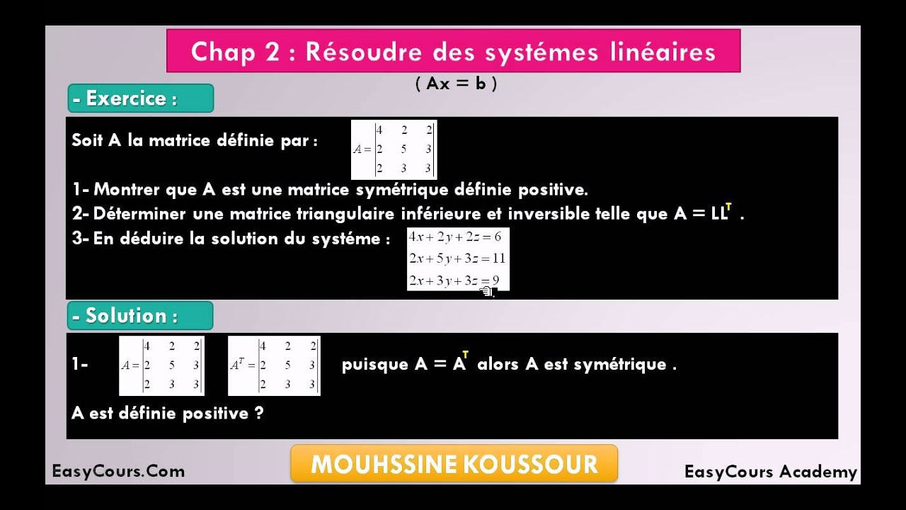 13 - Exercice 1 - Méthode de Cholesky - Analyse Numérique ...