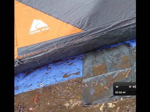 Ozark Trail Instant Tent in the rain.