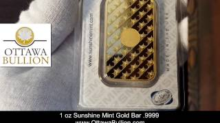 1 oz Sunshine Mint Gold Bar 9999 Ottawa Gold Dealer, Gold Bars Ottawa, Buy Gold Ottawa