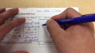 Chapter 4 Algebra 2 Practice Test (part 1)