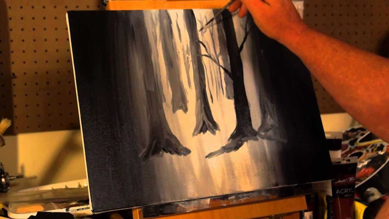 how to draw a forest acrylic