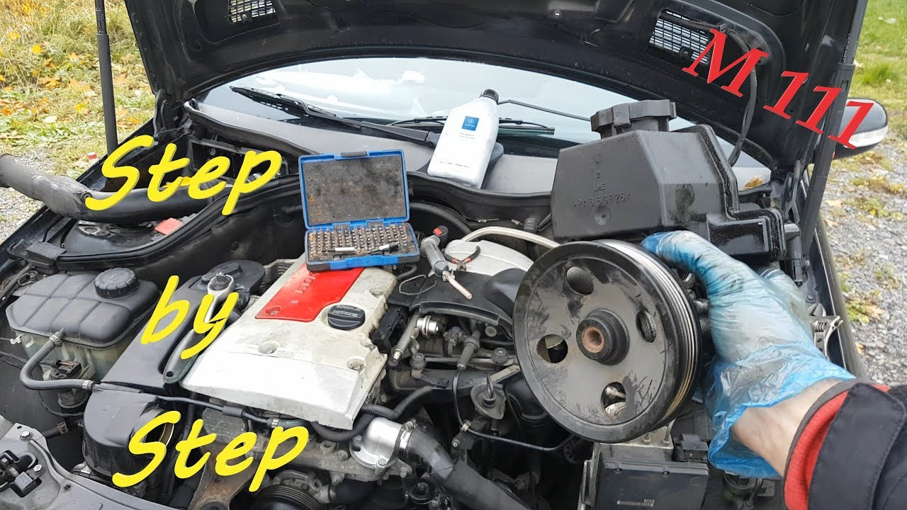 How Much Is A Power Steering Pump >> Mercedes W203 Power Steering Pump Remove And Replacement On C200 C180 C230