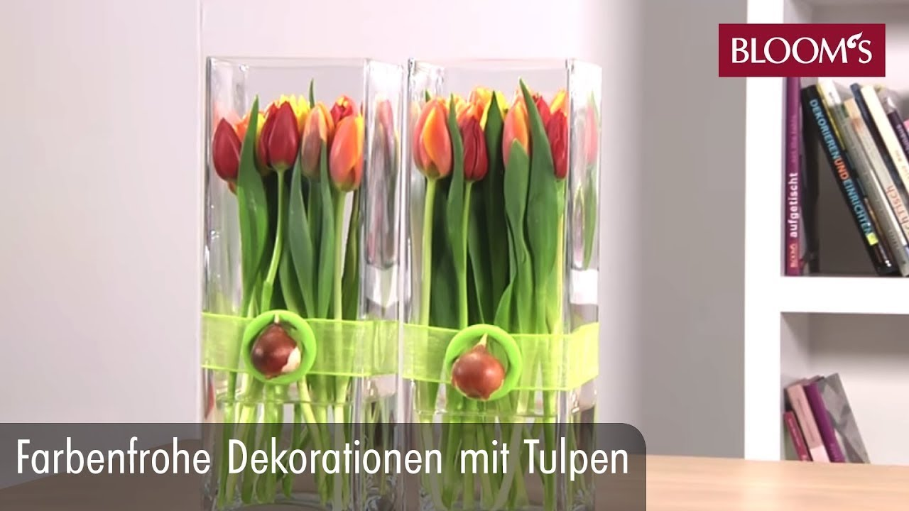 farbenfrohe deko mit tulpen youtube. Black Bedroom Furniture Sets. Home Design Ideas