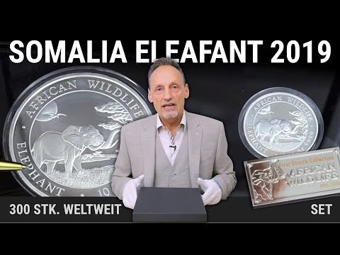 SILBERMÜNZEN SET - SOMALIA ELEFANT 2019 - NUR 300 STÜCK