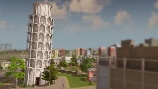 Cities: Skylines The Leaning Tower Of Pisa Custom Building Review!