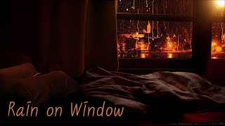 🎧 Cozy Ambience Bedroom - Rain on the Windows of the Rainy Night View of the City 10 Hours | Sleep