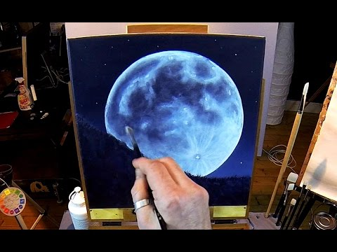 How To Paint A Full Moon - Acrylic Painting Lesson In Real ...
