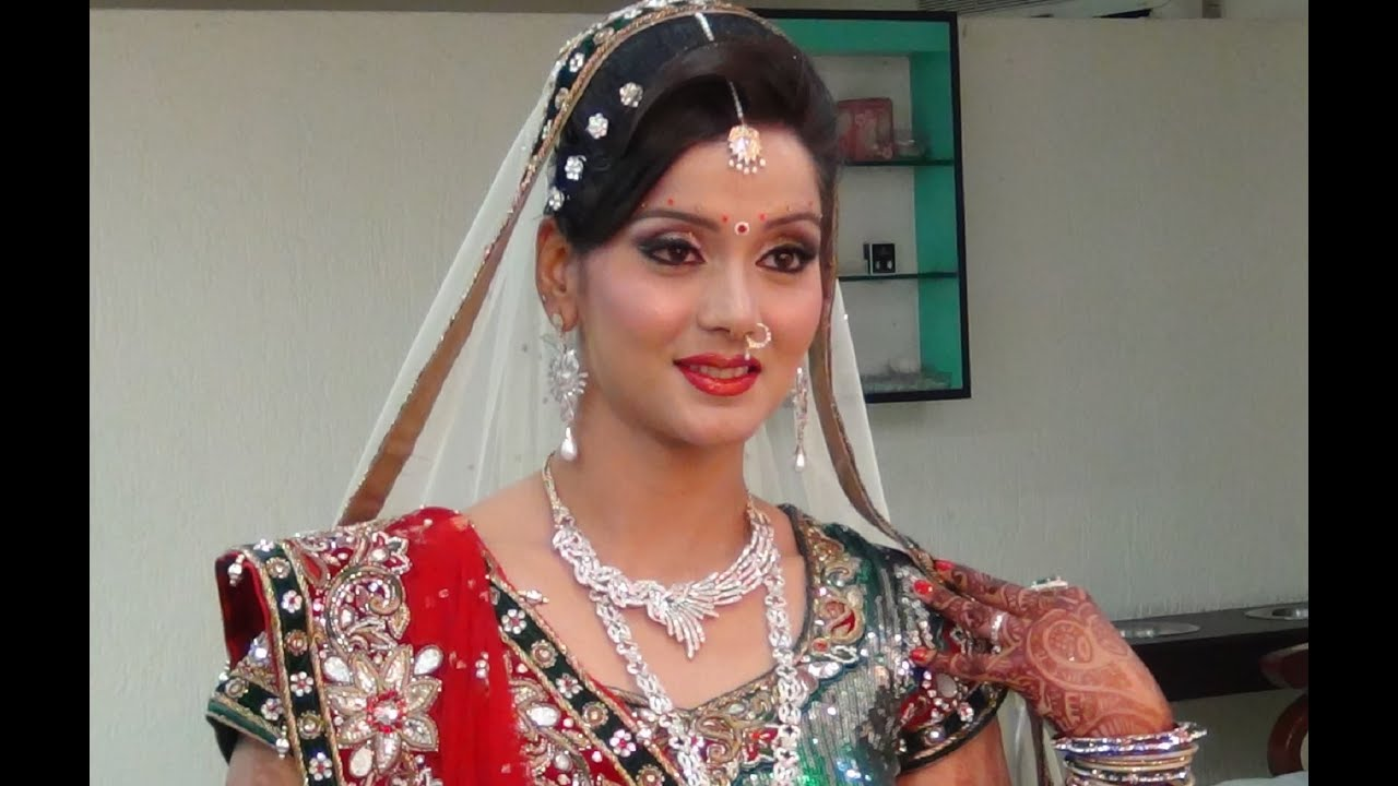 Indian Bridal Makeup And Hairstyle f White Gold And Green Look