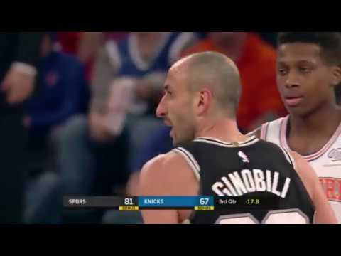 Ginobili in 2018 makes a 3-pter and the refs don't count it at first...