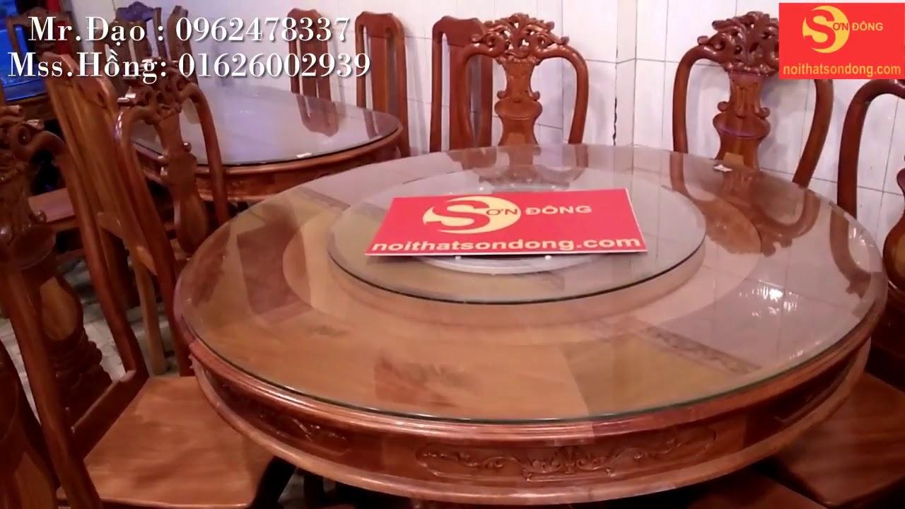 Bộ bàn ăn căm xe mặt gõ đỏ 8 ghế tròn có mâm xoay giá siêu rẻ