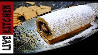 Αφράτο ρολό σοκολάτας - κορμός σοκολάτας - Chocolate cake roll - Live Kitchen