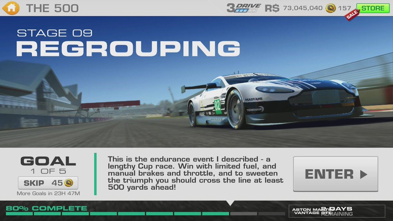 Real Racing 3 The 500 Stage 09 Goal 1 Aston Martin Vantage GTE